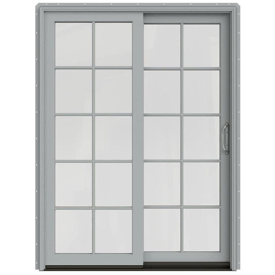 JELD-WEN W-2500 59.25-in 10-Lite Glass Artict Silver Wood Sliding Patio Door Screen Included