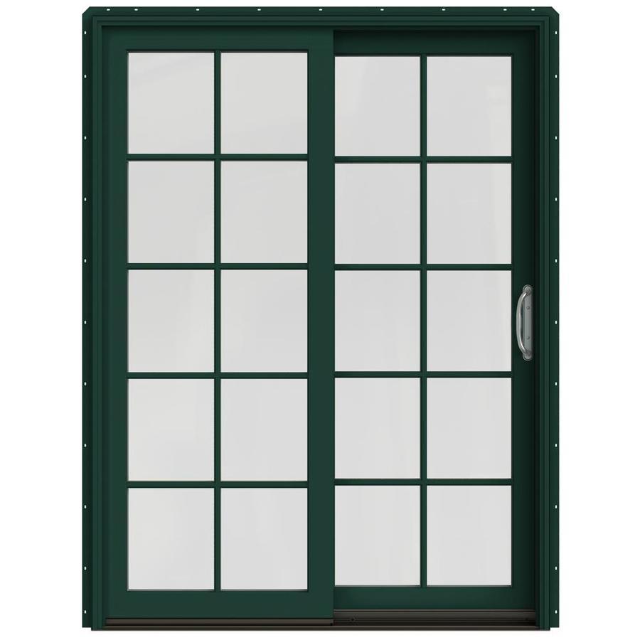 JELD-WEN W-2500 59.25-in 10-Lite Glass Hartford Green Wood Sliding Patio Door with Screen