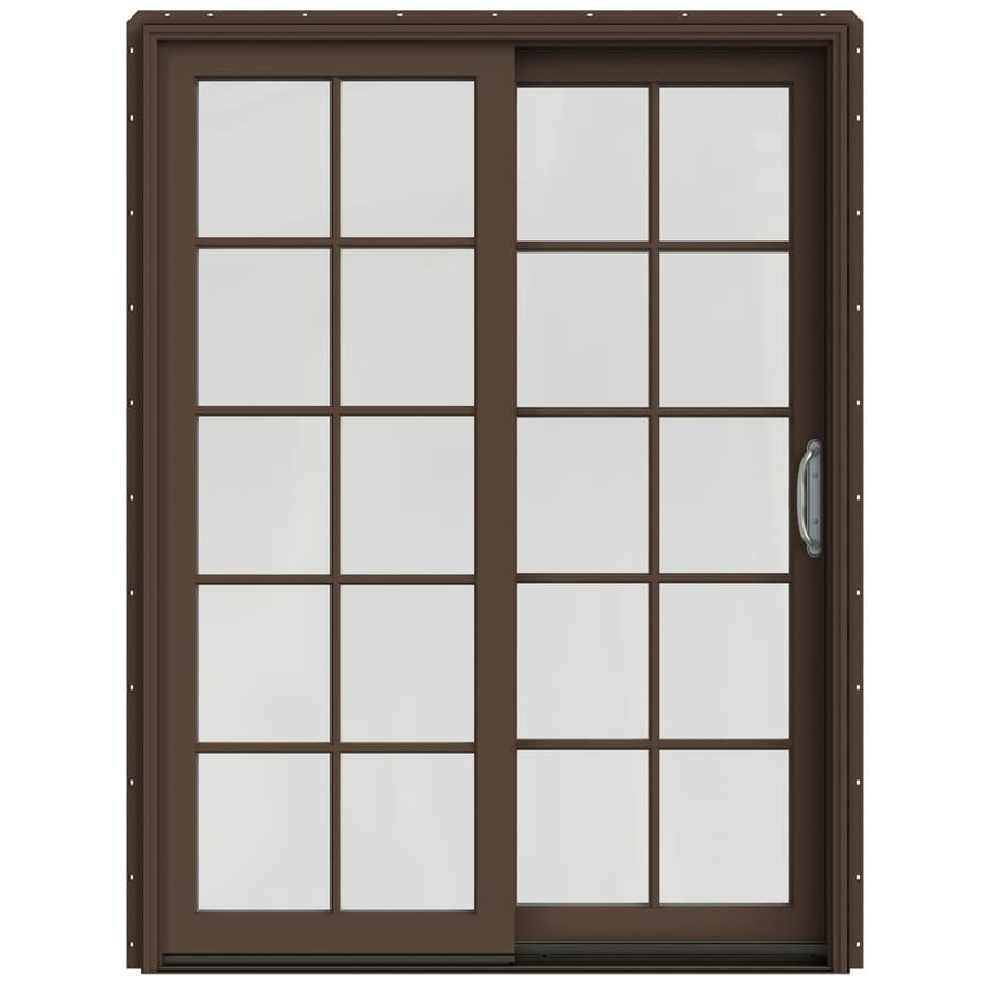 JELD-WEN W-2500 59.25-in 10-Lite Glass Dark Chocolate Wood Sliding Patio Door with Screen