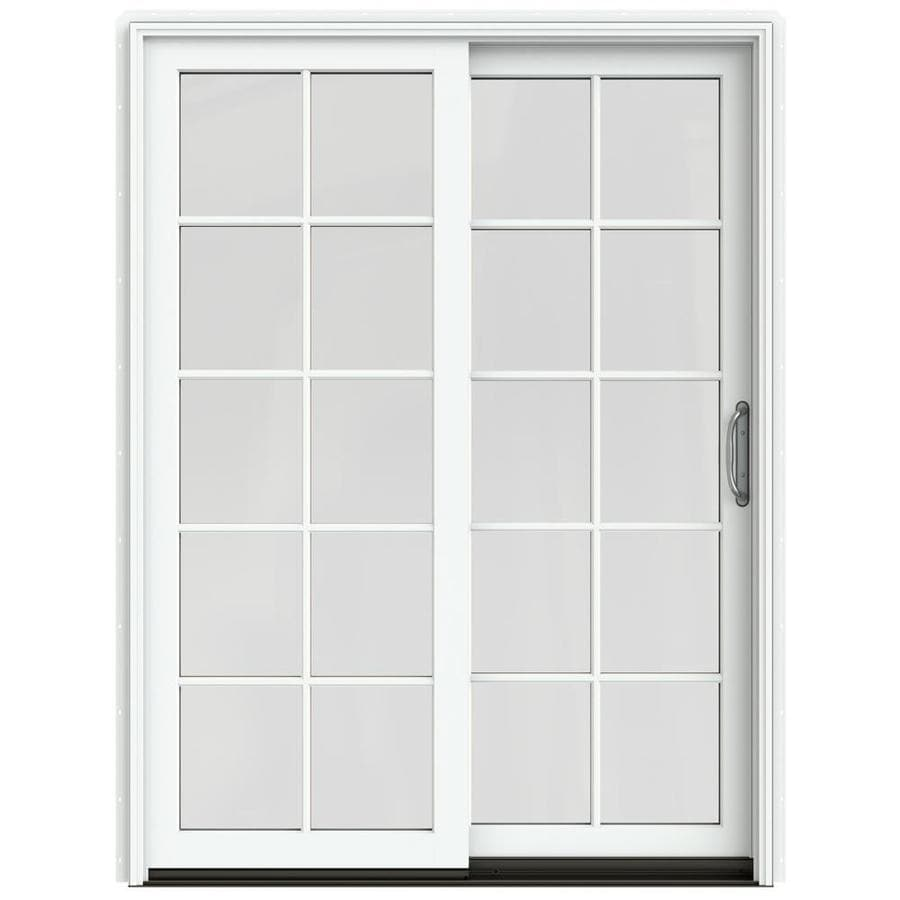 JELD-WEN W-2500 59.25-in 10-Lite Glass Brilliant White Wood Sliding Patio Door Screen Included