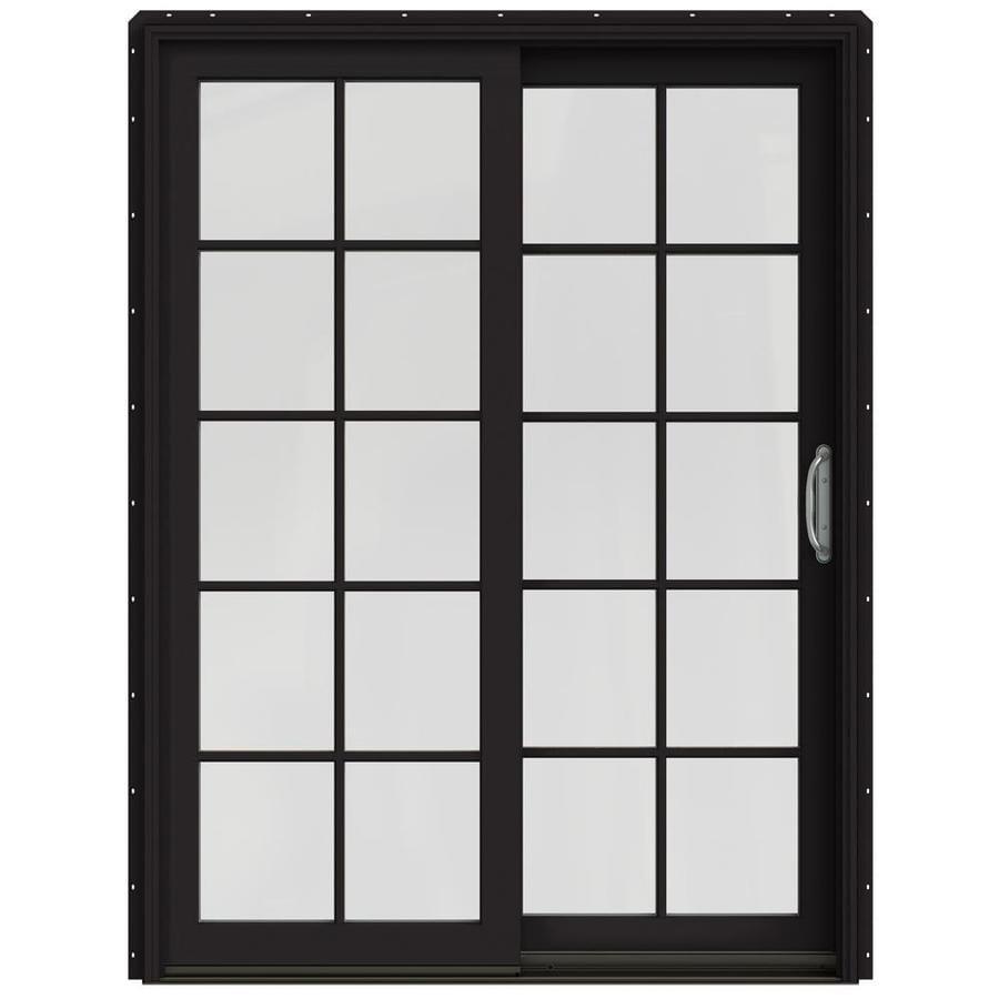JELD-WEN W-2500 59.25-in 10-Lite Glass Black Wood Sliding Patio Door with Screen