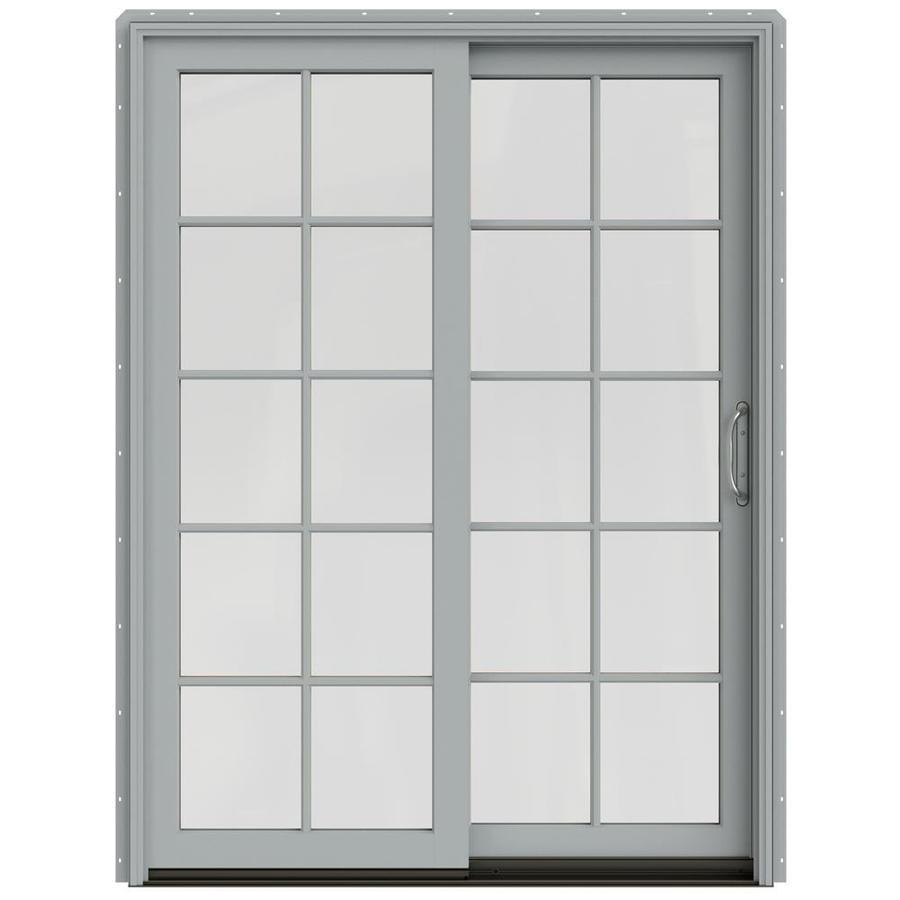 JELD-WEN W-2500 59.25-in 10-Lite Glass Artict Silver Wood Sliding Patio Door with Screen