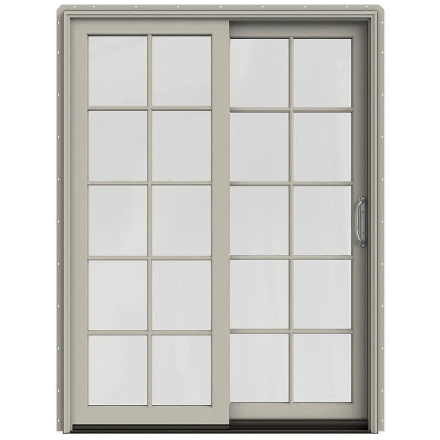 JELD-WEN W-2500 59.25-in 10-Lite Glass Desert Sand Wood Sliding Patio Door Screen Included