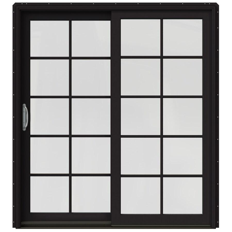 JELD-WEN W-2500 71.25-in 10-Lite Glass Black Wood Sliding Patio Door Screen Included