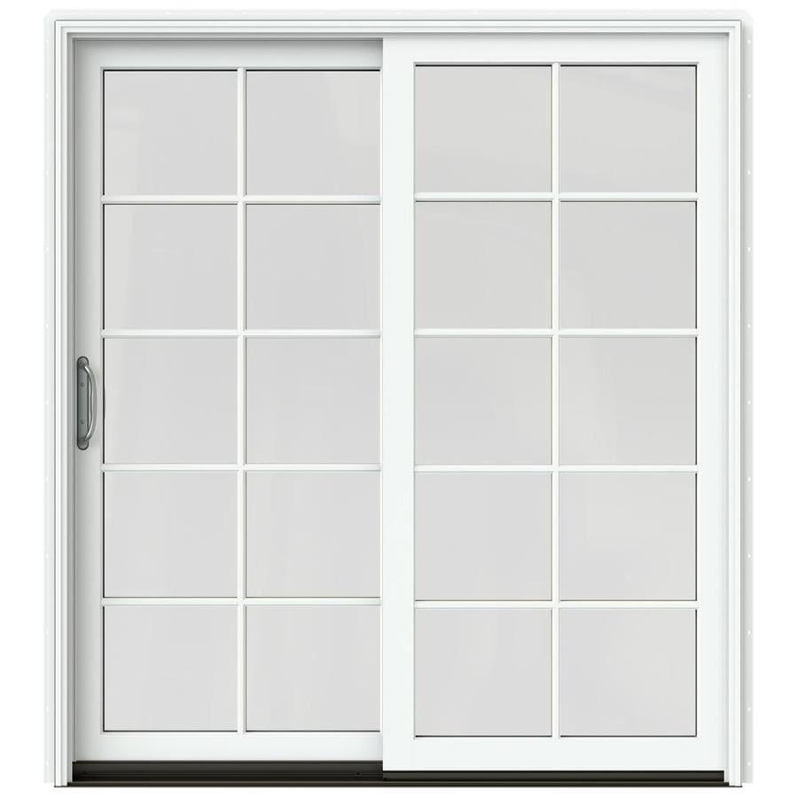 JELD-WEN W-2500 71.25-in 10-Lite Glass Brilliant White Wood Sliding Patio Door with Screen