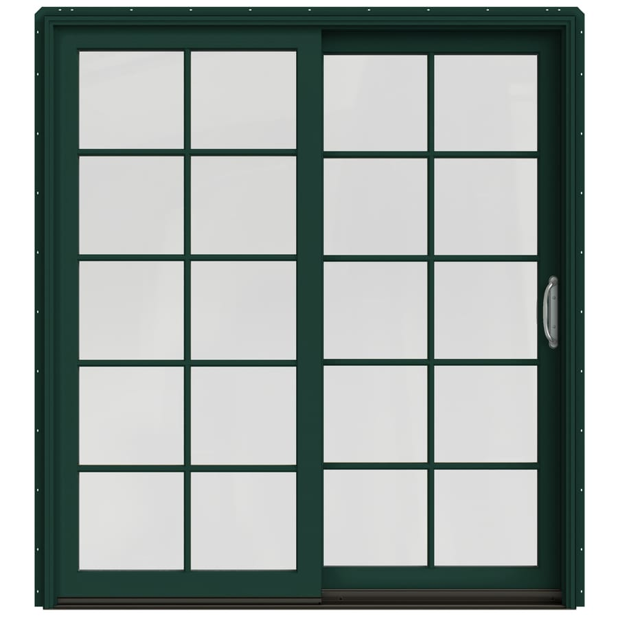 JELD-WEN W-2500 71.25-in 10-Lite Glass Hartford Green Wood Sliding Patio Door Screen Included