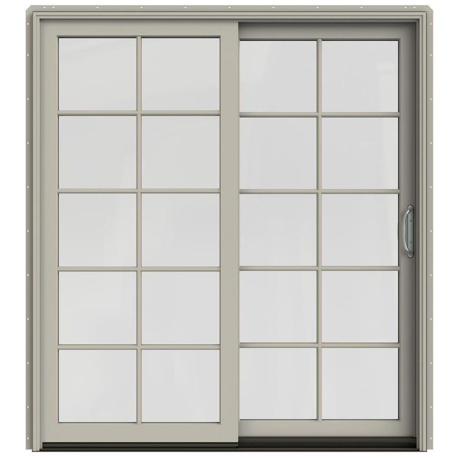 JELD-WEN W-2500 71.25-in 10-Lite Glass Desert Sand Wood Sliding Patio Door Screen Included
