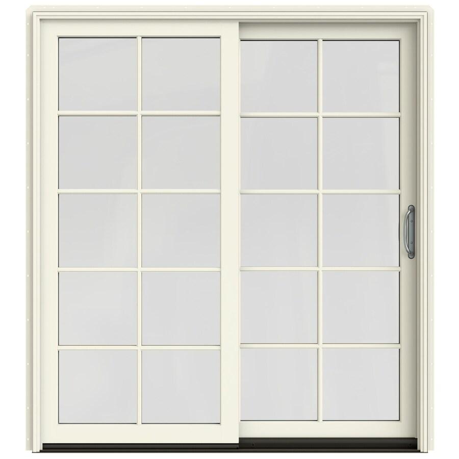 JELD-WEN W-2500 71.25-in 10-Lite Glass French Vanilla Wood Sliding Patio Door Screen Included