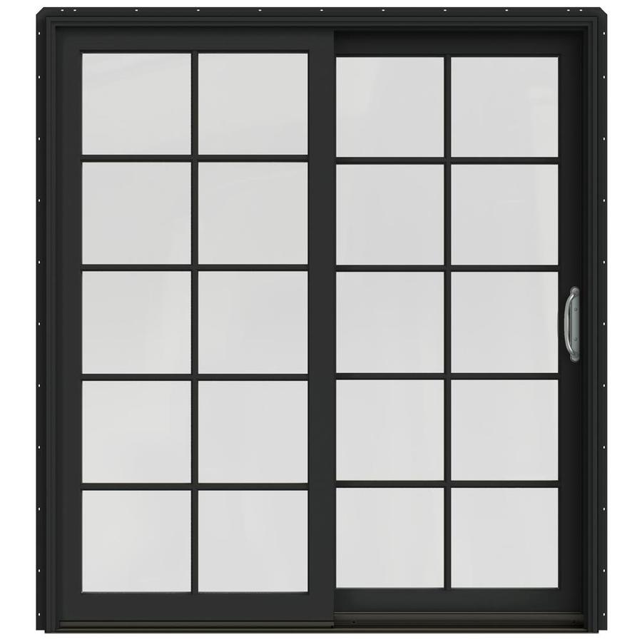 JELD-WEN W-2500 71.25-in 10-Lite Glass Chestnut Bronze Wood Sliding Patio Door Screen Included