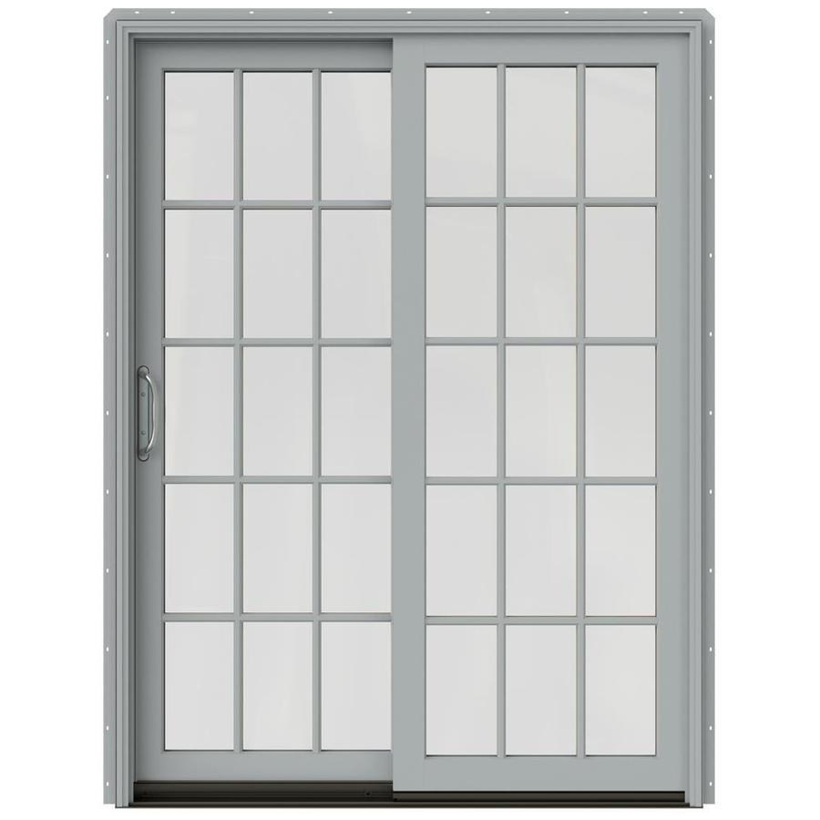 JELD-WEN W-2500 59.25-in 15-Lite Glass Artict Silver Wood Sliding Patio Door Screen Included