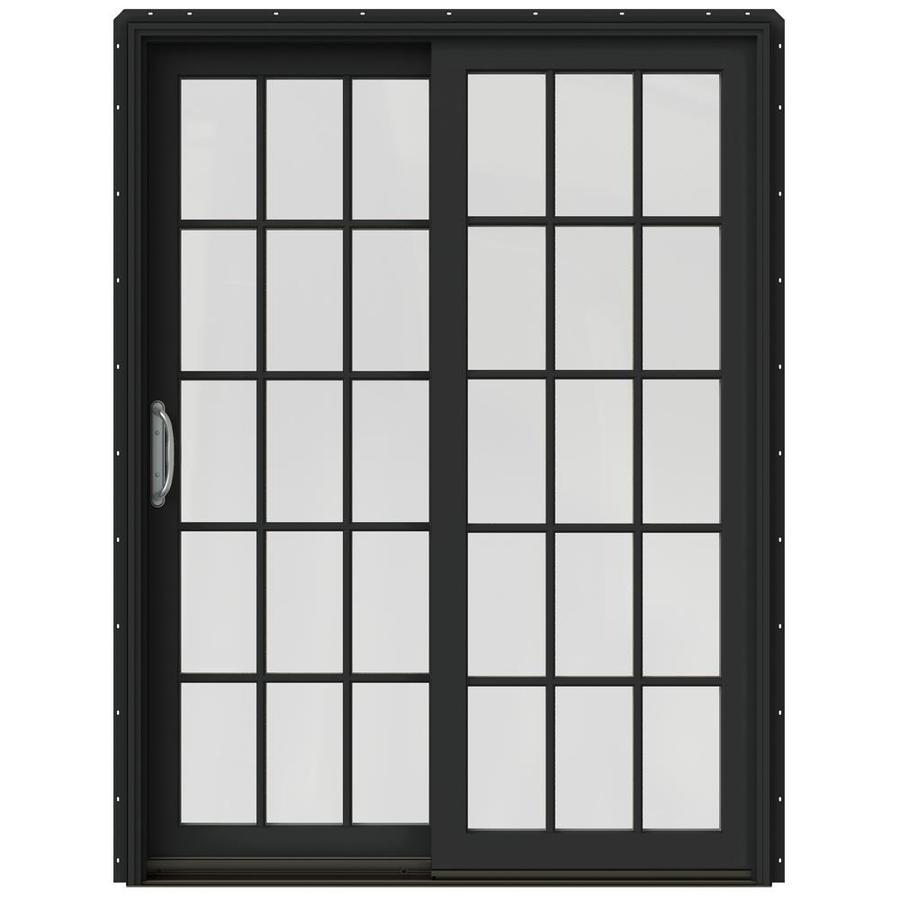 JELD-WEN W-2500 59.25-in 15-Lite Glass Chestnut Bronze Wood Sliding Patio Door with Screen