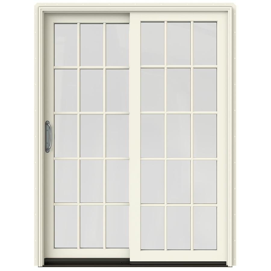 JELD-WEN W-2500 59.25-in 15-Lite Glass French Vanilla Wood Sliding Patio Door Screen Included