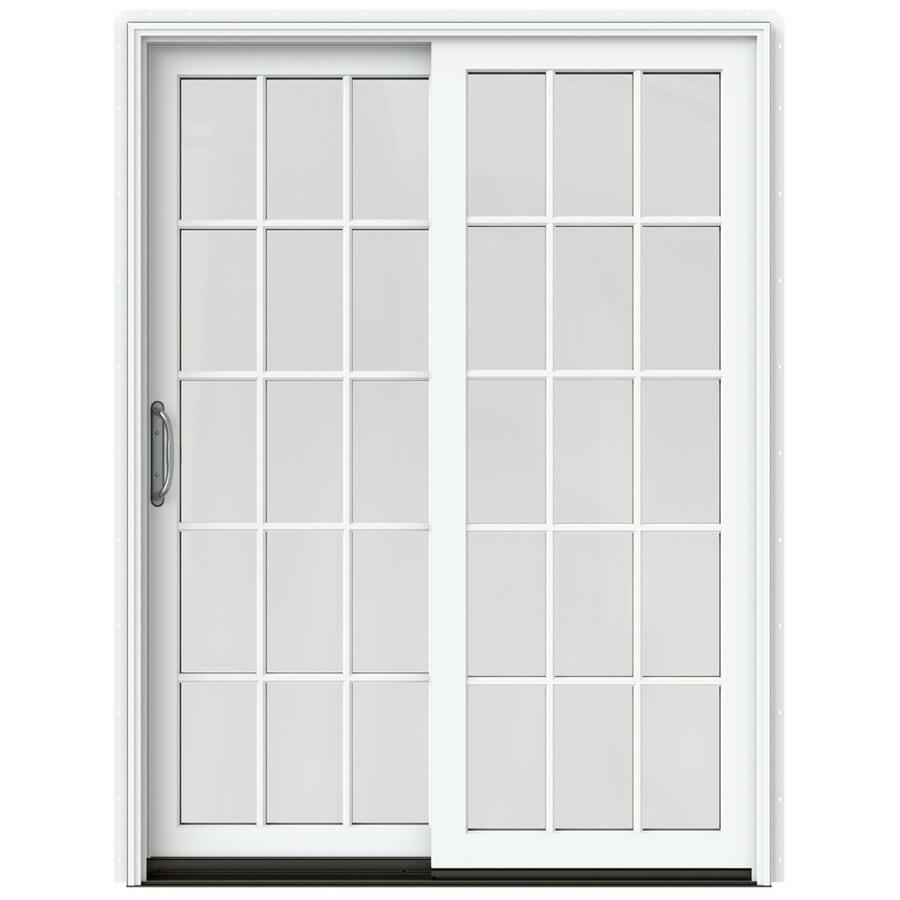 JELD-WEN W-2500 59.25-in 15-Lite Glass Brilliant White Wood Sliding Patio Door with Screen