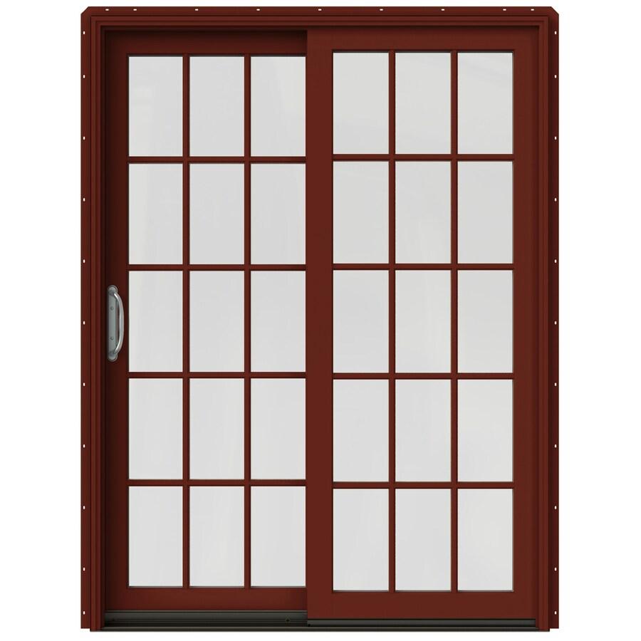 JELD-WEN W-2500 59.25-in 15-Lite Glass Mesa Red Wood Sliding Patio Door with Screen