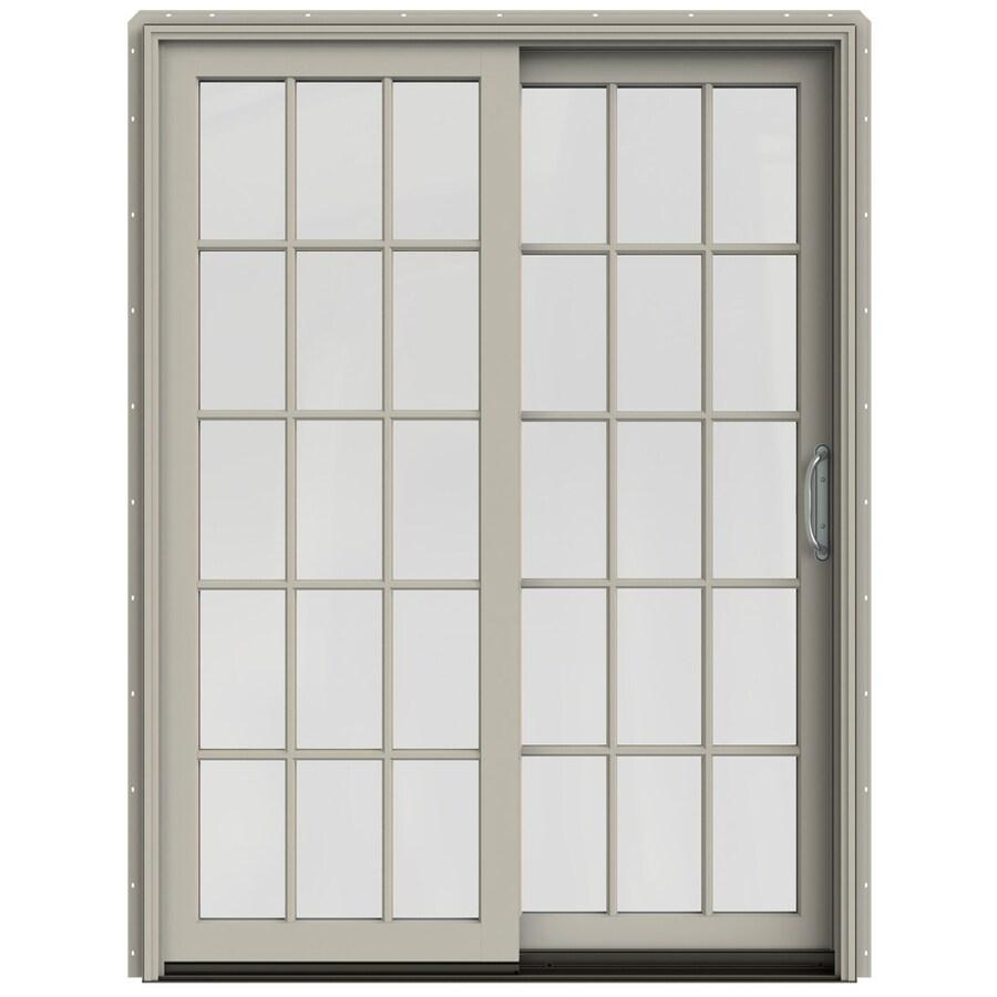JELD-WEN W-2500 59.25-in 15-Lite Glass Desert Sand Wood Sliding Patio Door with Screen