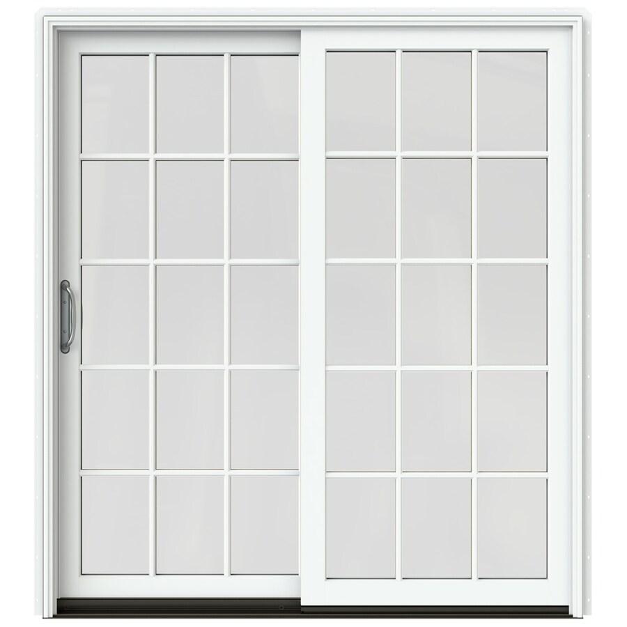 JELD-WEN W-2500 71.25-in 15-Lite Glass Brilliant White Wood Sliding Patio Door Screen Included