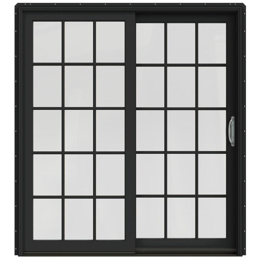 JELD-WEN W-2500 71.25-in 15-Lite Glass Chestnut Bronze Wood Sliding Patio Door Screen Included