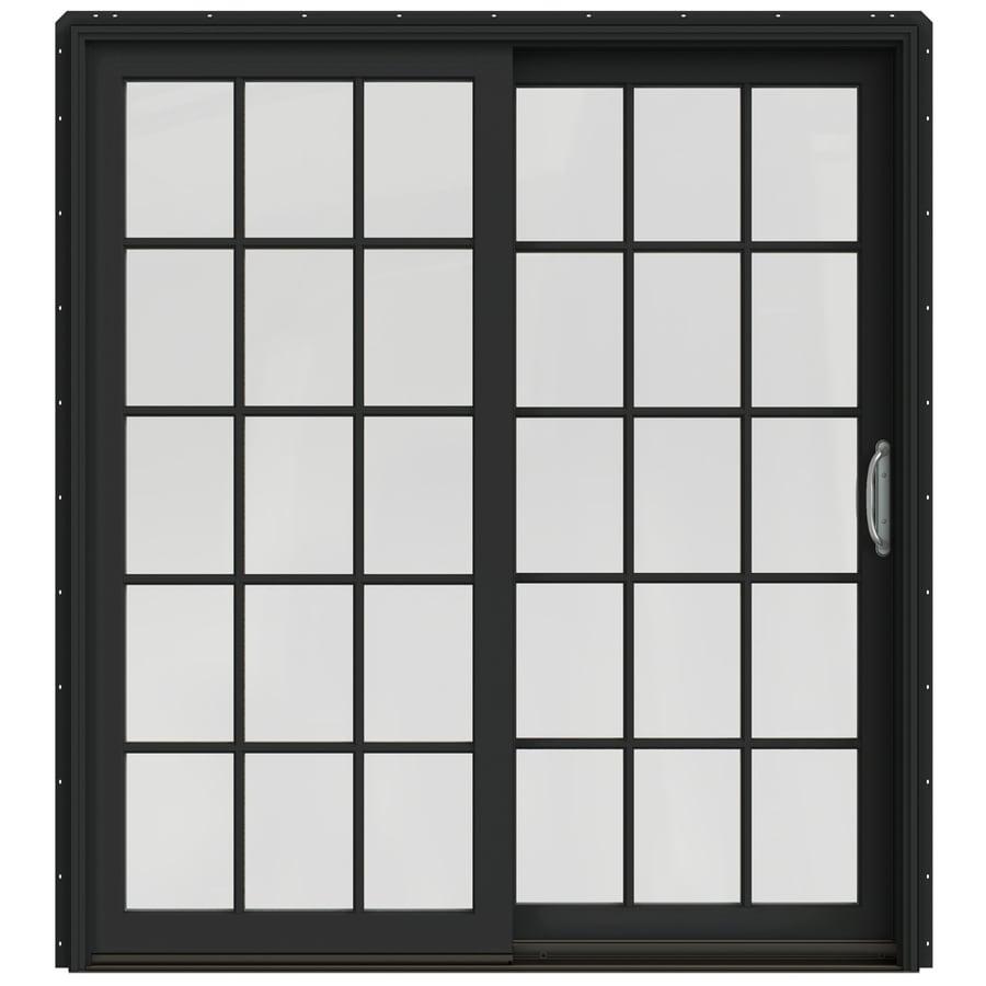JELD-WEN W-2500 71.25-in 15-Lite Glass Chestnut Bronze Wood Sliding Patio Door with Screen