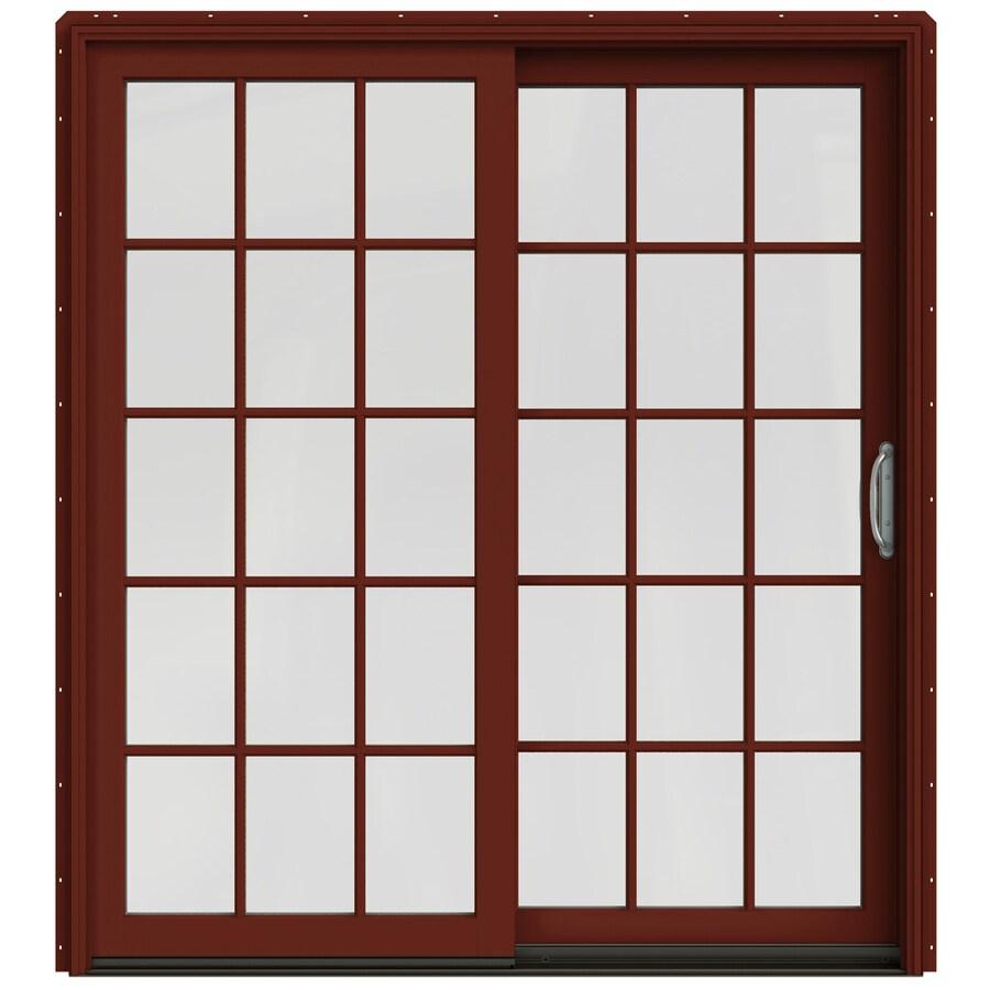 JELD-WEN W-2500 71.25-in 15-Lite Glass Mesa Red Wood Sliding Patio Door with Screen