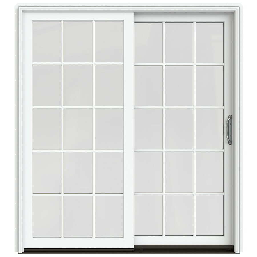 JELD-WEN W-2500 71.25-in 15-Lite Glass Brilliant White Wood Sliding Patio Door with Screen