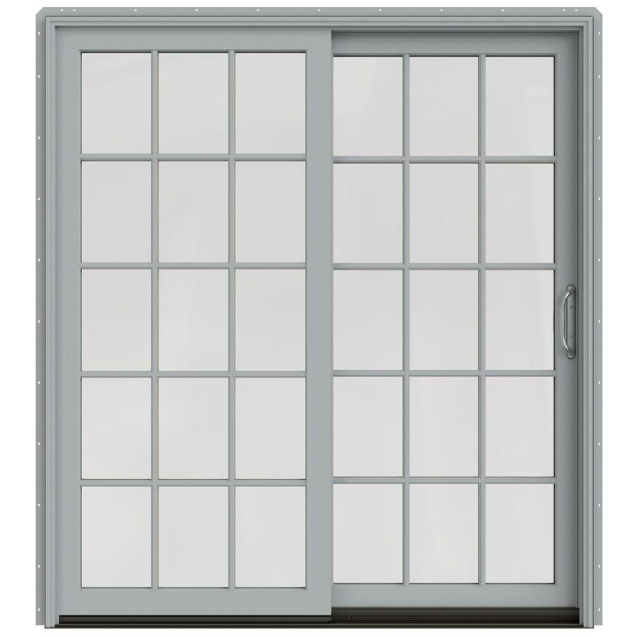 JELD-WEN W-2500 71.25-in 15-Lite Glass Arctic Silver Wood Sliding Patio Door Screen Included
