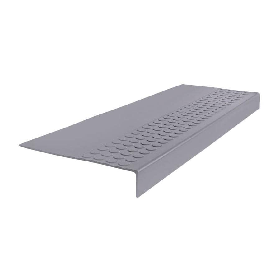 FLEXCO 12-in x 48-in Gray Rubber Square Nose Stair Treads