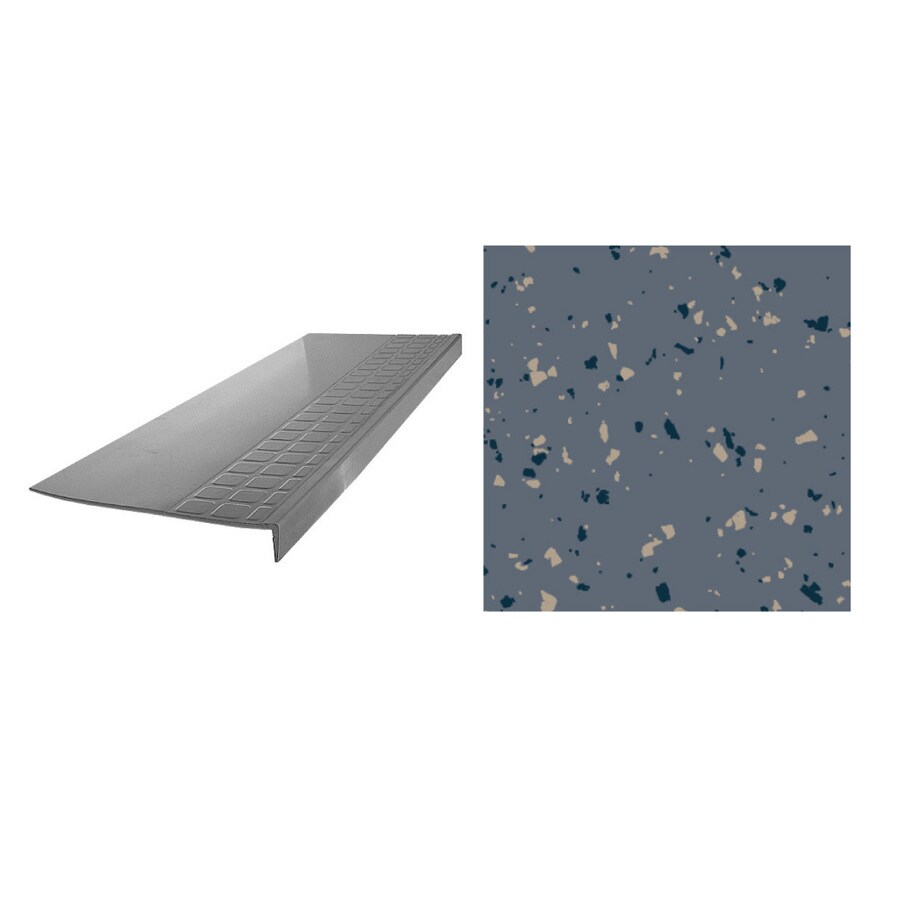 FLEXCO 12.25-in x 42-in Blue Shadow Rubber Square Nose Stair Treads
