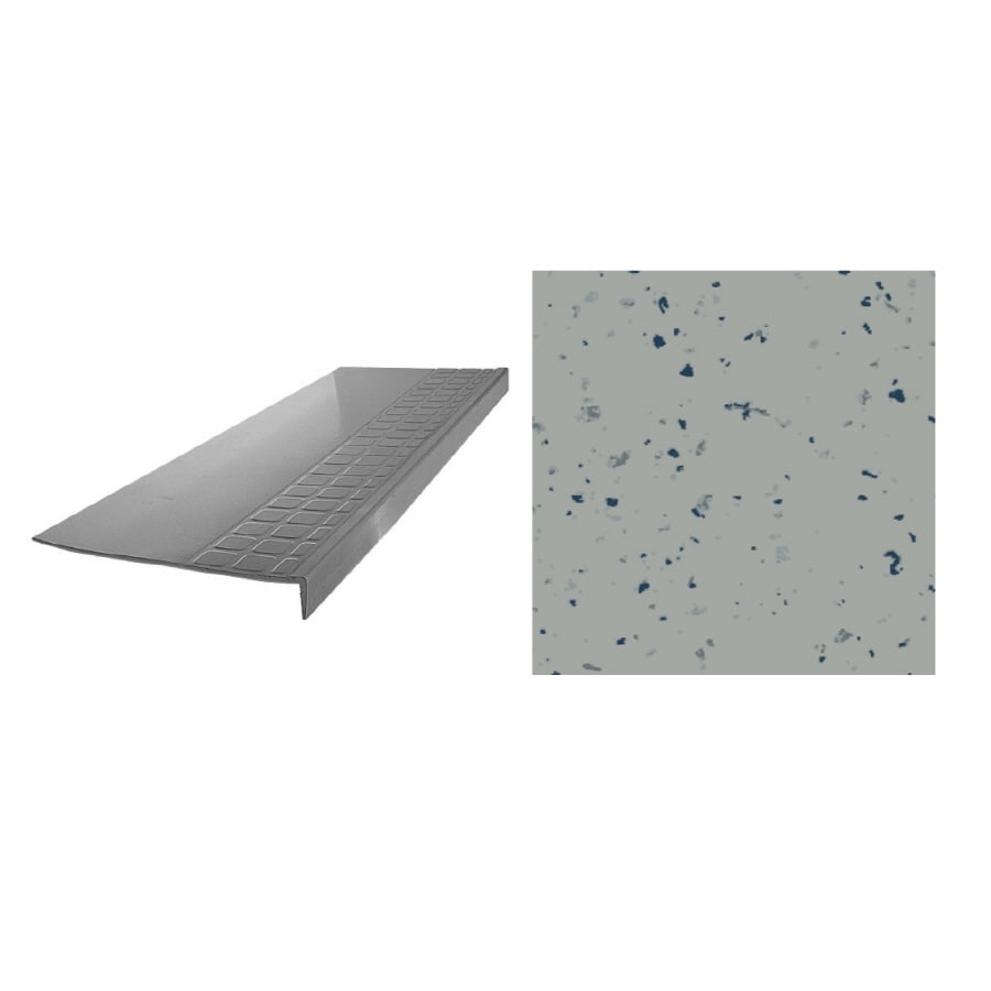 FLEXCO 12.25-in x 48-in Light Gray Spext1S Rubber Square Nose Stair Treads