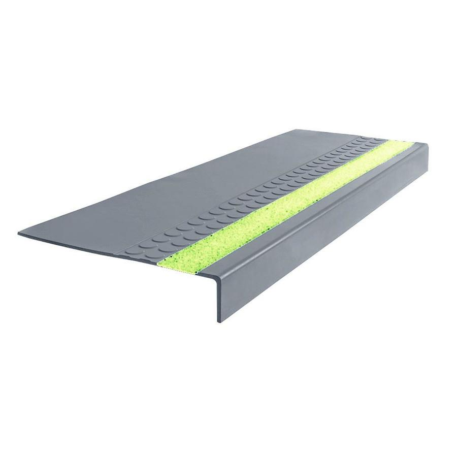 FLEXCO 12-in x 42-in Medium Gray Rubber Square Nose Stair Treads