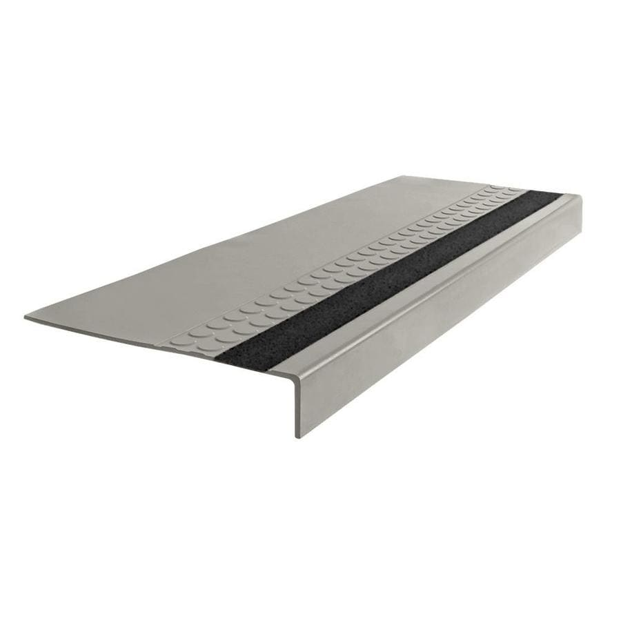 FLEXCO 12-in x 48-in Light Gray with Black Grit Strip Rubber Square Nose Stair Treads