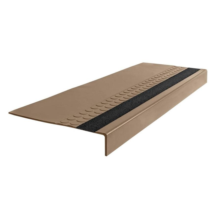 FLEXCO 12-in x 54-in Cappuccino with Black Grit Strip Rubber Square Nose Stair Treads