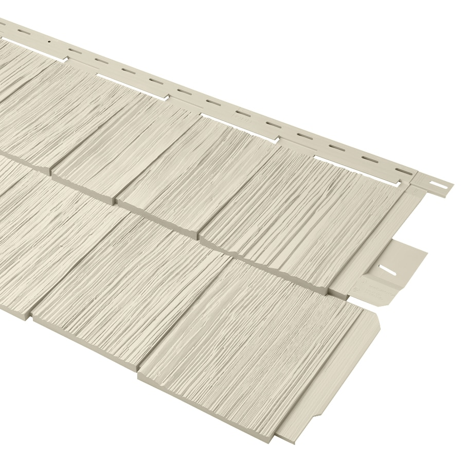 Durabuilt 20.375-in x 58.125-in Woodgrain/Cream Shake Vinyl Siding Panel
