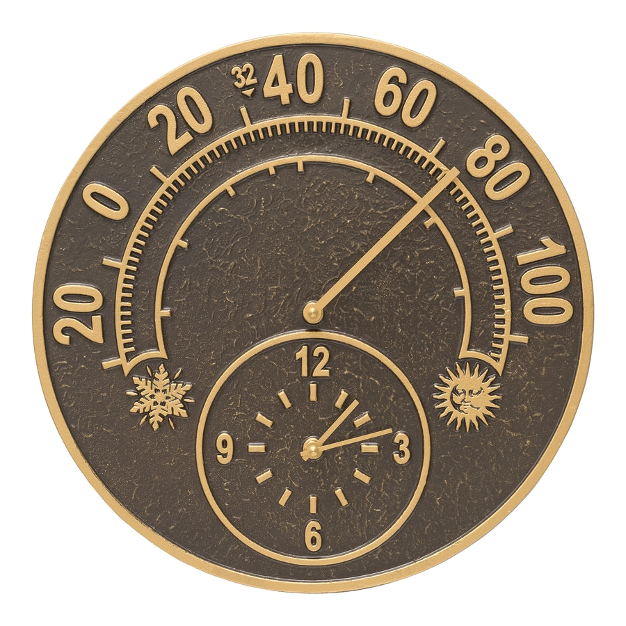 Whitehall Wireless Indoor/Outdoor French Bronze Classic Thermometer with Clock