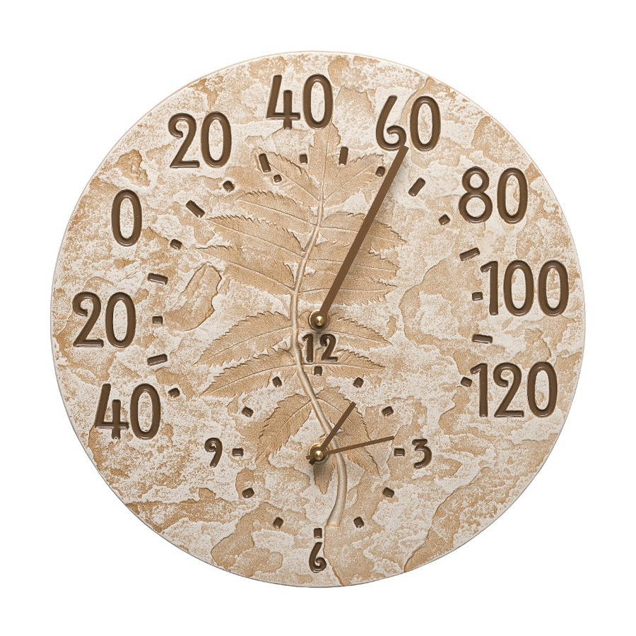 Whitehall Wireless Indoor/Outdoor Weathered Limestone Classic Thermometer with Clock
