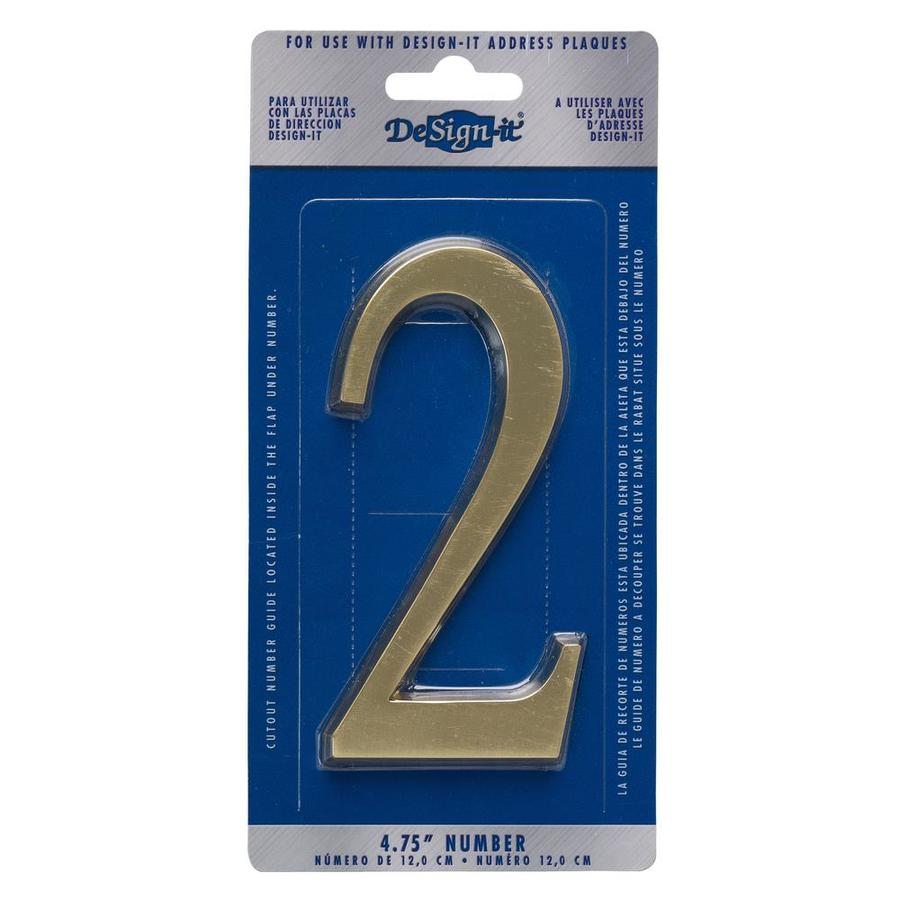 DeSign-it 5-in Polished Brass House Number #2
