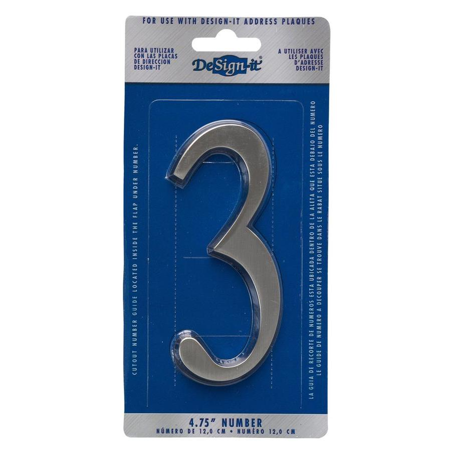 DeSign-it 5-in Satin Nickel House Number 3