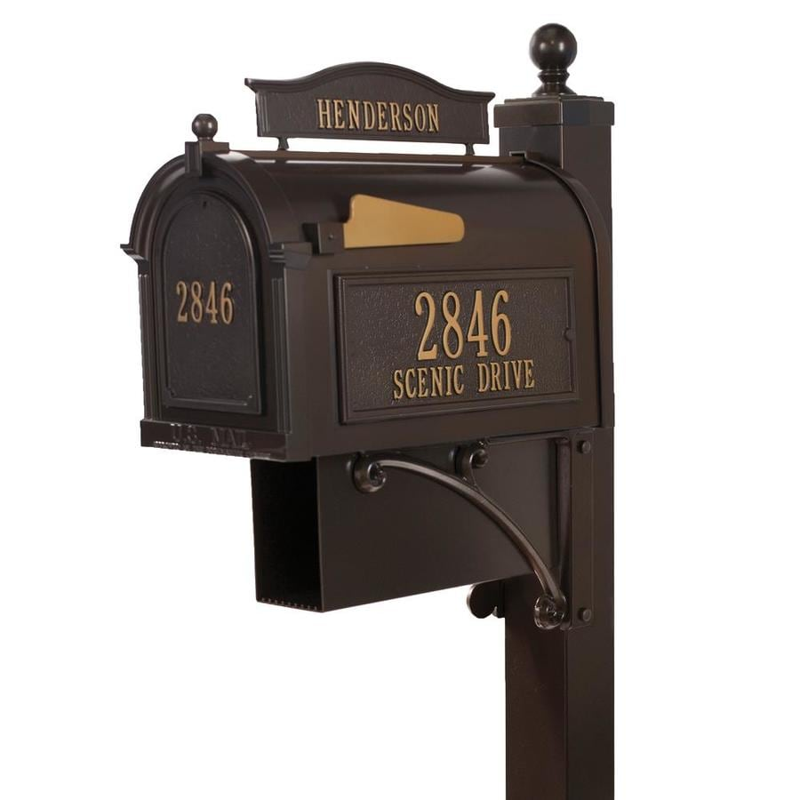 Whitehall 10.125-in x 58-in Metal French Bronze Ground Mount Mailbox with Post