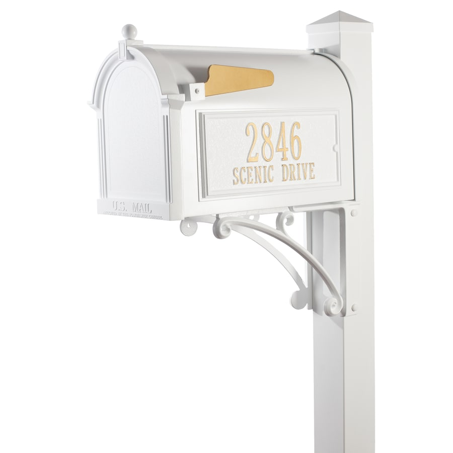 Whitehall 10.125-in x 55-in Metal White Ground Mount Mailbox with Post