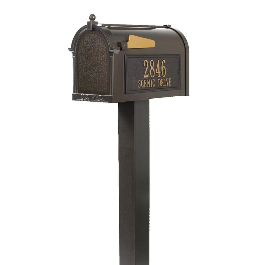 Whitehall 10.125-in x 53-in Metal French Bronze Ground Mount Mailbox with Post