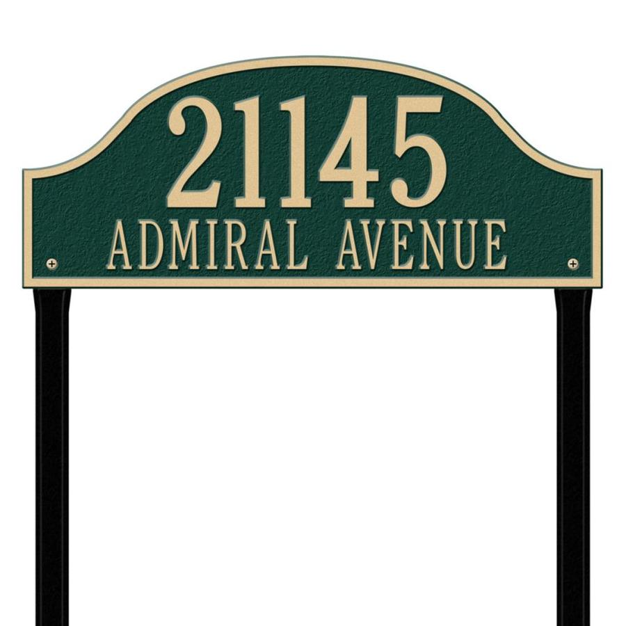 Whitehall 26.5-in x 23.75-in Admiral Estate Lawn Two Line Green/Gold Plaque