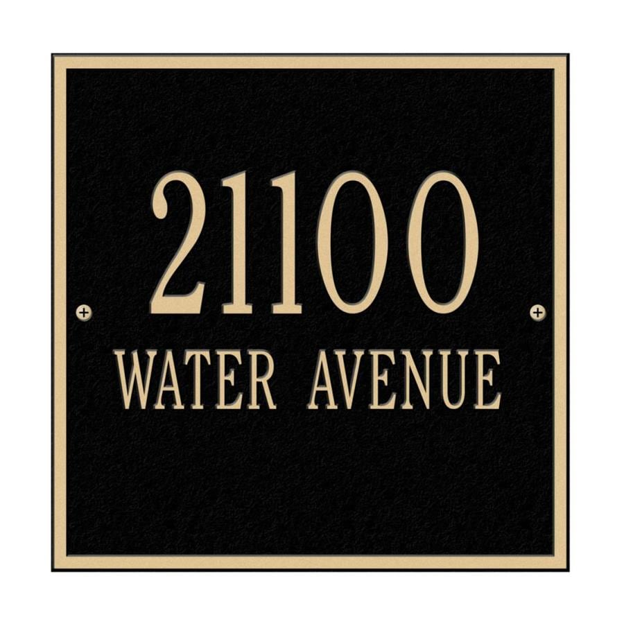 Whitehall 11-in x 11-in Square Standard Wall Two Line Black/Gold Plaque