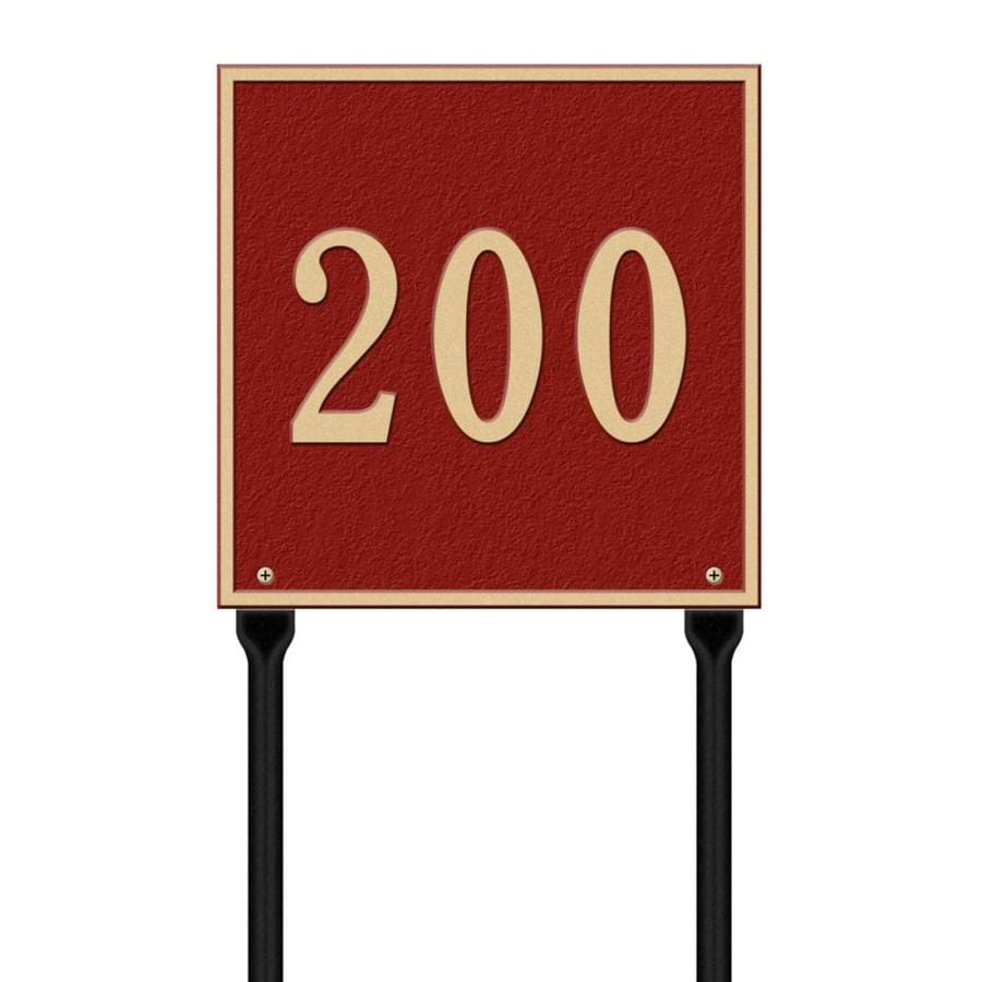 Whitehall 28-in x 11-in Square Standard Lawn One Line Red/Gold Plaque