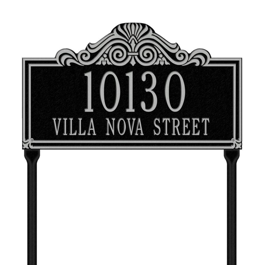 Whitehall 26.5-in x 16.5-in Villa Nova Standard Lawn Two Line Black/Sliver Plaque