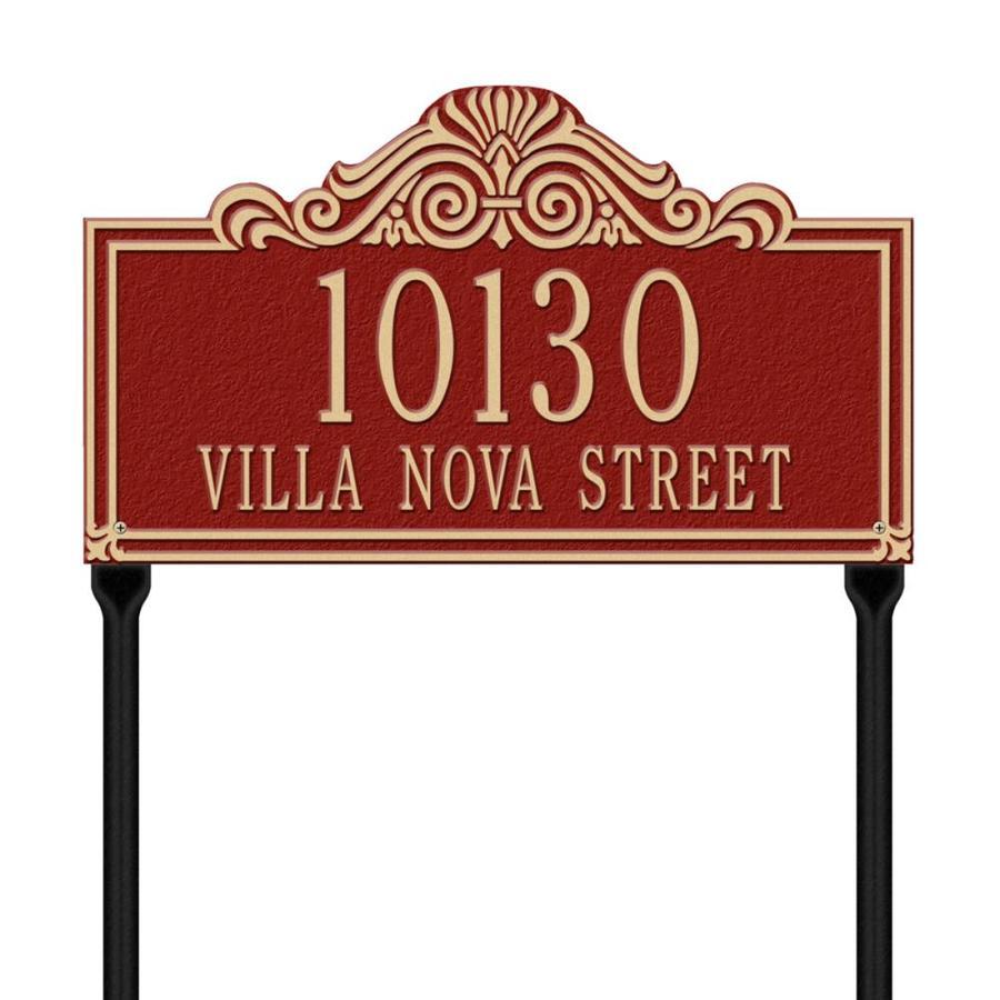 Whitehall 26.5-in x 16.5-in Villa Nova Standard Lawn Two Line Red/Gold Plaque