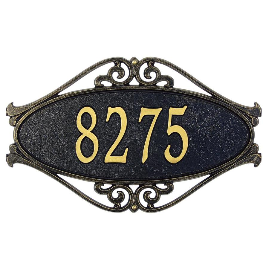 Whitehall 11-in x 17.5-in Hackley Fretwork Standard Wall One Line Black/Gold Plaque