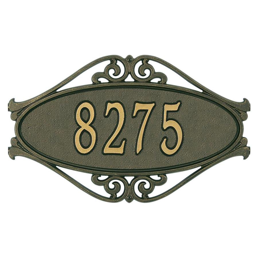 Whitehall 11-in x 17.5-in Hackley Fretwork Standard Wall One Line Bronze/Gold Plaque