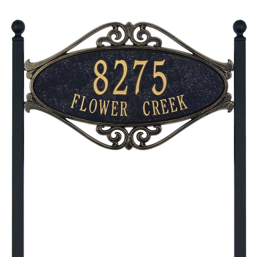 Whitehall 28-in x 17.5-in Hackley Fretwork Standard Lawn Two Line Black/Gold Plaque