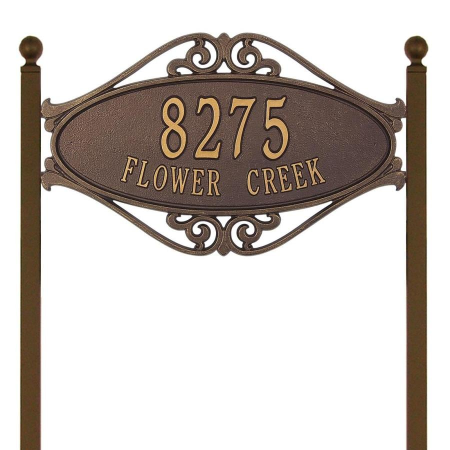Whitehall 28-in x 17.5-in Hackley Fretwork Standard Lawn Two Line Antique Copper Plaque