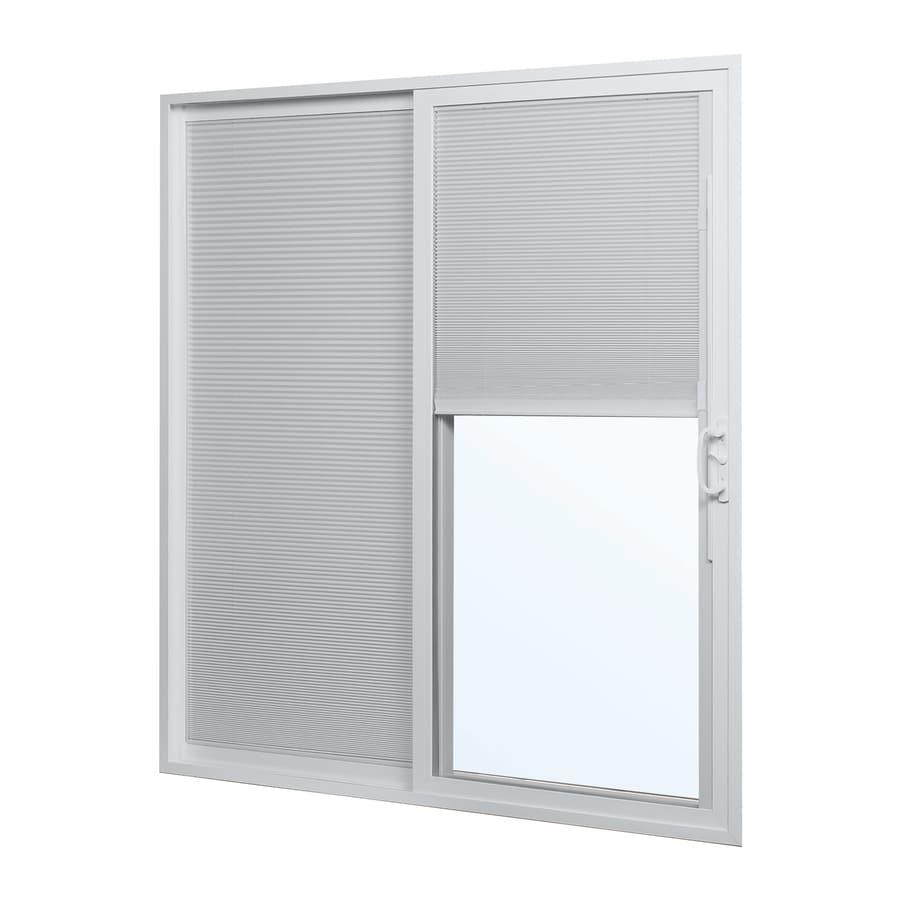 ReliaBilt 300 Series 70.75-in Blinds Between the Glass White Vinyl Sliding Patio Door