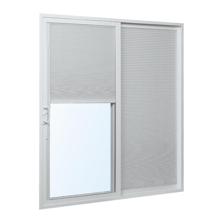 ReliaBilt 332 Series 70.75-in Blinds Between the Glass White Vinyl Sliding Patio Door